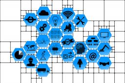 Nati-mortalità imprenditoriale 1 trimestre 2021 - esagoni azzurri con immagini di attività industriali