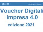 Voucher Digitali Impresa 4.0 scritta blu su sfondo bianco